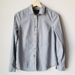 J Crew Perfect Shirt In Heather Flannel Dot Sz 2